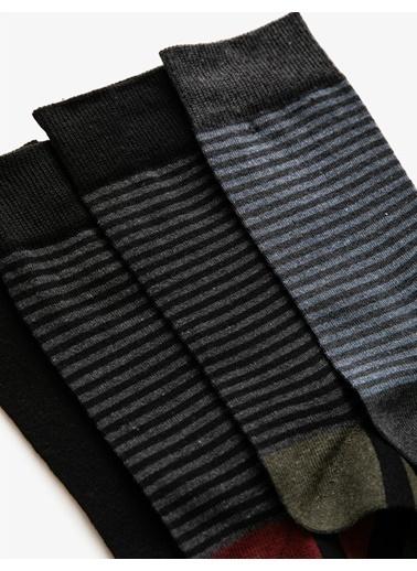 Koton Kadin 4'Lü Çizgili Çorap Seti Siyah
